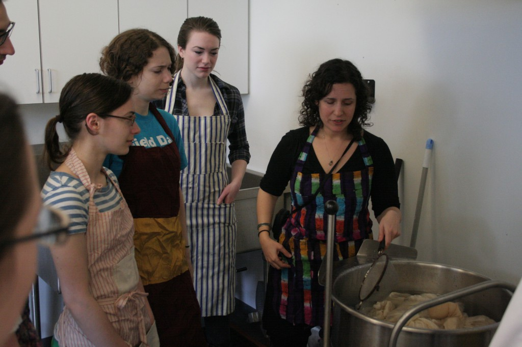 Students learn about natural dye techniques in Deborah Brothers Costume Design course