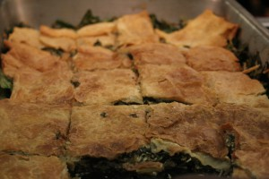 Lunch at Driscoll included spanakopita made with Nitty Gritty Grain Company Vermont-grown flour, Equinox Farm spinach, and Maplebrook Feta.