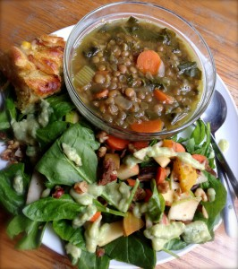A final No Impact Week celebration featured a wholesome student-cooked meal of hearty lentil vegetable soup, spinach salad with roasted vegetables and avocado dressing, onion and cheese cornbread, and Swedish apple cake.