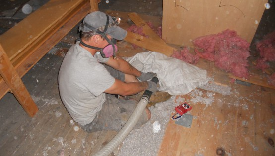 The space beneath floorboards in the Oakley Center was packed with cellulose.