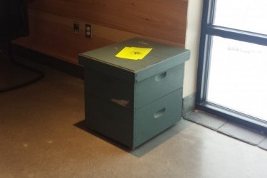 A former beehive as a desk
