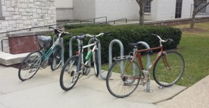 campus bike rack near Lasell gym