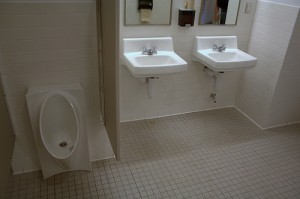 waterless urinals and low flow fixtures in Shapiro Hall