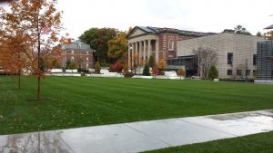 Looking west towards Chapin Hall and Bernhard from the middle of the new quad