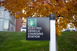 A sign for an EV charging station
