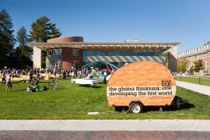 The Ghana Think Tank mobile trailer in front of Paresky Student Center at Williams College