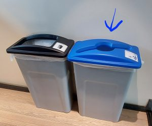 The blue bins are for all recyclable items.